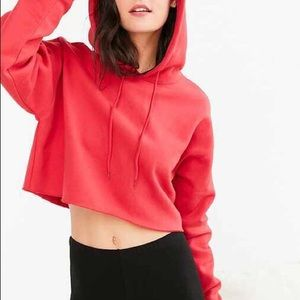 Urban Outfitters Red Cropped Sweatshirt Hoodie